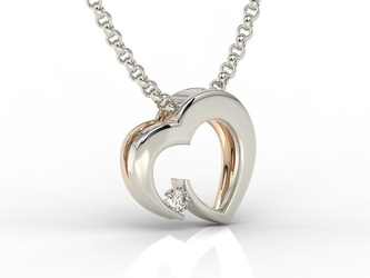 Wisiorek z białego i różowego złota w kształcie serca z diamentem lpw-95bp