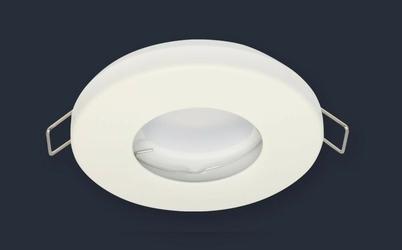 Oprawka halogenowa sufitowa wodoodporna, okrągła, stała  - biały matowy