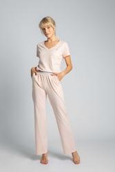 Długie bawełniane spodnie do spania - brzoskwiniowe