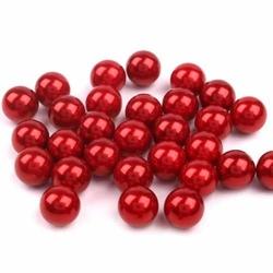 Woskowane perły dekoracyjne 10mm10szt - czerwony - CZE