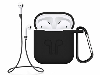 Silikonowe etui + pasek strap opaska do Apple AirPods czarny - Czarny