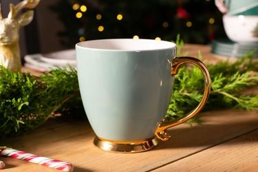 Duży kubek  filiżanka do kawy i herbaty porcelanowy altom design urban gold przydymiona zieleń 400 ml