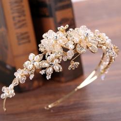 Opaska do włosów ślubna złota kwiaty cyrkonie