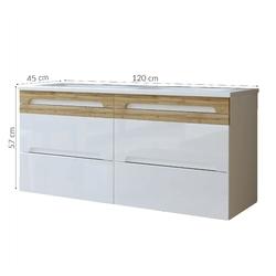 Podwójna szafka łazienkowa z umywalką mona 120 cm biała
