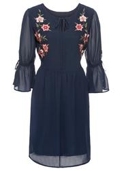 Sukienka z haftem i falbanami bonprix ciemnoniebieski