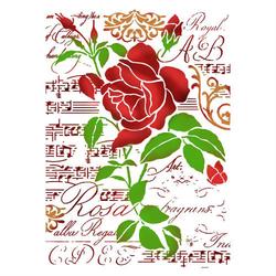 Szablon do malowania 21x29,7 cm - róża - 419