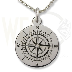 Wisiorek z łańcuszkiem ze srebra kompas- 1