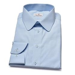 Błękitna koszula van thorn  z zaokrąglonym kołnierzykiem 38