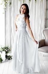 Biała długa suknia ślubna z kwiatami 3d wieczorowa