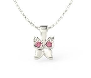 Wisiorek w kształcie motyla z białego złota z różowymi cyrkoniami bpw-88b-c - białe