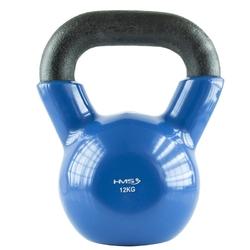 Hantla winylowa żeliwna kettlebell 12 kg - hms - 12 kg  niebiesko-czarny