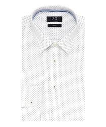 Elegancka biała koszula profuomo 2.0 w drobny granatowy wzór 41