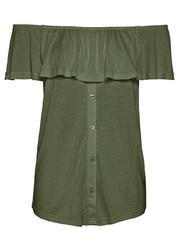Shirt z dekoltem quot;carmenquot; bonprix ciemny khaki