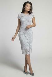 Koronkowa Szara Ołówkowa Sukienka Midi z Dekoltem V na Plecach