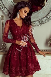 Bordowa sukienka, elegancka rozkloszowana  koronkowa - amelia