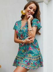 Letnia sukienka w kwiaty szmizjerka, turkusowa łączka