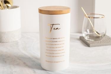 Pojemnik na herbatę porcelanowy z pokrywą bambusową  altom design biały