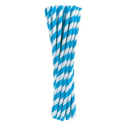 słomki papierowe błękitne w białe paski 24 szt.