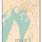 Oslo mapa kolorowa - plakat wymiar do wyboru: 50x70 cm