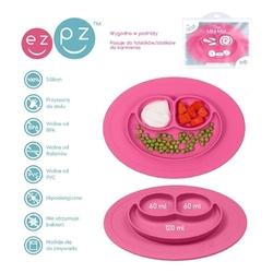 Różowy talerzyk z podkładką 2w1 mini mat