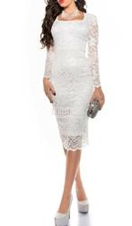 Biała sukienka za kolano 335-2