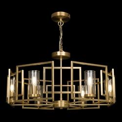 Żyrandol do salonu wiszący, złoty, geometryczny wzór bowi maytoni h009pl-06g