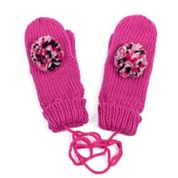 Rękawiczki z POMPONEM damskie amarantowe - AMARANTOWE