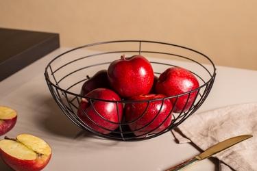 Koszyk metalowy  druciany na owoce czarny altom design pasy 28 cm
