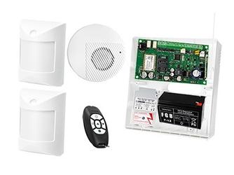 System alarmowy do rozbudowy bezprzewodowej: płyta główna micra, pilot bezprzewodowy mpt-300, 2x czujka abmer, sygnalizator spw-100  , akcesoria