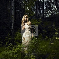 Obraz dziewczyna w lesie bajki