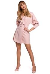 Sukienka koktajlowa mini z bufiastymi rękawami i paskiem pudrowa m501