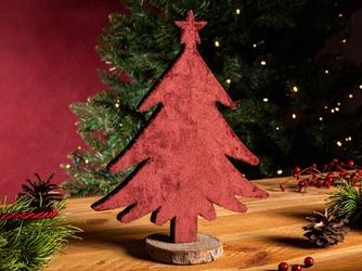Figurka  dekoracja świąteczna  ozdoba drewniana z welurowym frontem na boże narodzenie altom design choinka bordowa 25 x 21 cm