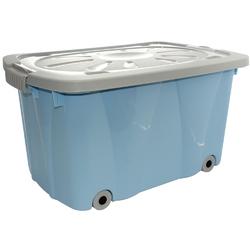 Pojemnik do przechowywania  na zabawki z pokrywą na kółkach plastikowy artgos kliper niebieski
