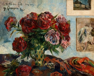 Still life with peonies, paul gauguin - plakat wymiar do wyboru: 70x50 cm