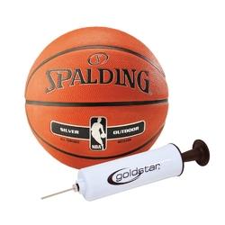 Piłka do koszykówki spalding nba silver outdoor + pompka