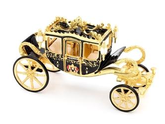 Pudełko szkatułka karoca czarno złota ksiezniczki dedykacja prezent