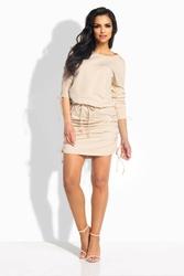 Beżowa sukienka z wiązanymi ściągaczami