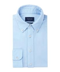 Błękitna koszula męska z dzianiny slim fit 46
