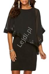 Elegancka czarna sukienka z szyfonowym bolerkiem zdobiona cekinami 518