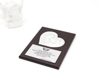 Obrazek srebrny pamiątka chrztu chrzest dedykacja