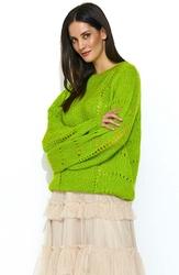 Luźny Limonkowy Sweter z Ażurowym Wzorem