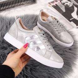 Sneakersy na koturnie srebrne jezzi - srebrny