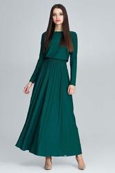 Zielona sukienka maxi z długim rękawem