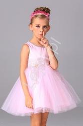 Różowa tiulowa sukienka z kryształkami przy dekolcie dla dziewczynek