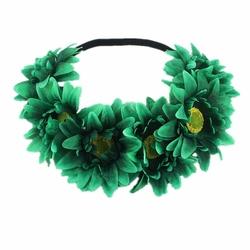 WIANEK opaska NA GUMCE kwiaty GERBERY zielony - 34928