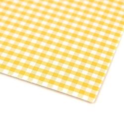 Papier ozdobny w kratkę 300g 24x34 cm - żółty - żół