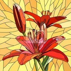 Naklejka ilustracja wektora czerwony kwiat lilii.