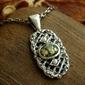 Lorena - srebrny wisiorek z bursztynem i perłami