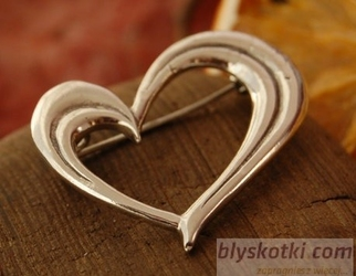 Serce srebrna broszka