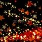 Plakat na papierze fotorealistycznym jesienne liście tańczą w ciemności